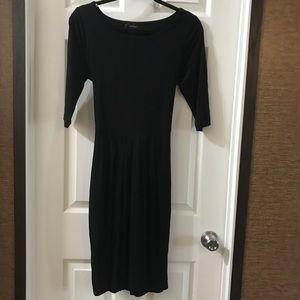 Karen Kane Black 3/4 Sleeve Tie Waist Knit Dress S